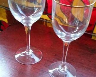 Gold rimmed crystal wine glasses, 2 sets, 12 each