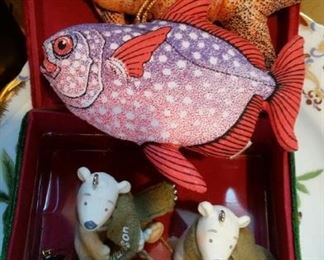 Cotton fish Christmas ornaments