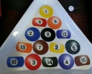 Billiards porcelain triangle tray