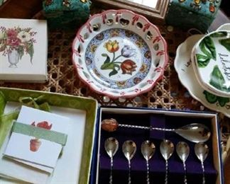 gemstone spoons, dainty dishes and note cards