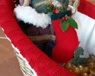 Santa, knitted sweater-clad basket