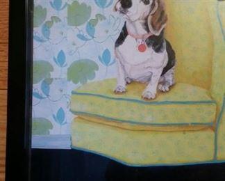 Beagle on an easy chair, framed