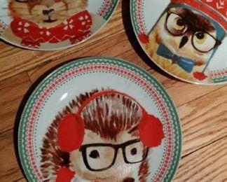 hedgehog, owl, squirrel winter plates