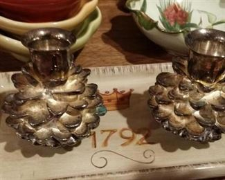 pine cone candlestick holders