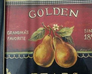 Golden pears framed print
