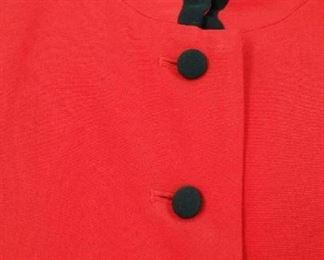 Long red silk women's blazer