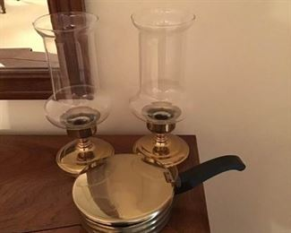 Candleholders with Brass Like on the Bottom