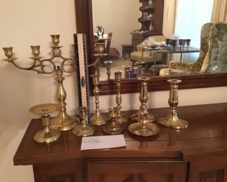 Assortment of Brass Candle Holders