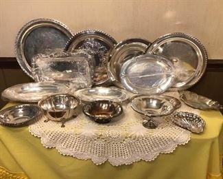Assortment of Silver Plate Platters