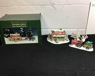 Hickory Farms Porcelain Lighted Tree/Tractor