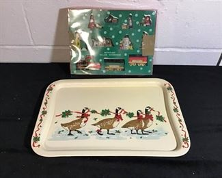 Snowflake Village Accessories and Goose Tray