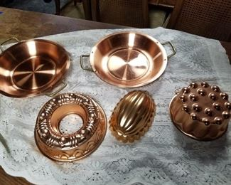 Copper molds and pie plates
