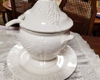 Soup Bowl with Ladle and decorative plate