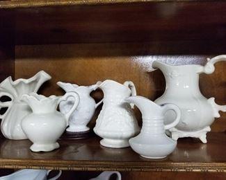 White Ceramic Vintage Pitchers
