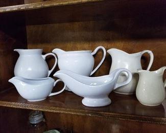 White Ceramic pitchers and gravy bowls
