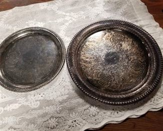 Silver plate serving platters
