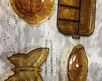 Amber Glass Serving Platters
