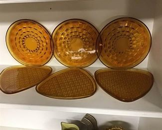 Vintage Amber Glass Plates