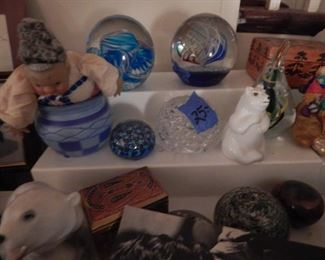 Smalls, paper weights, figurines, boxes and more.