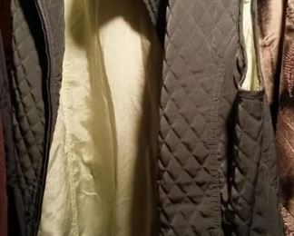Green silk reversible quilted vest