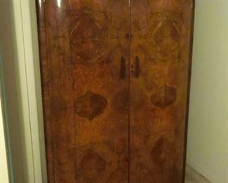 #5 Burlwood Art Deco armoire. Large.