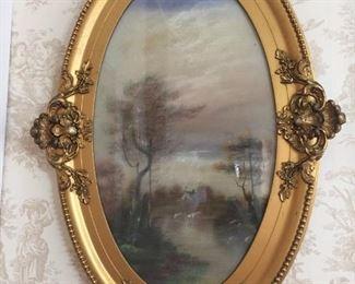 pastel in antique frame