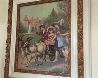 antique wood carved frame and print