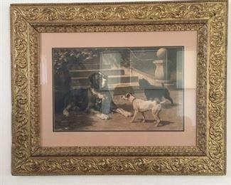 dog print antique frame