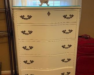 """#25French provincial chest of drawers with glass top 35""""x18.5""""x49"""" $75.00"""