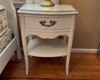 """#27French provincial bed side table with glass top 21""""x16""""x28"""" $40.00"""