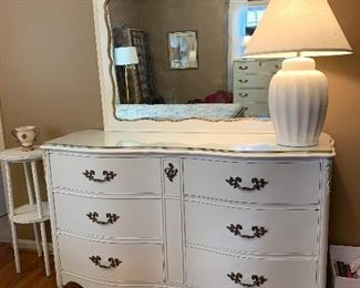 """#28French provincial dresser with mirror and glass top 57""""x20""""x35"""" $125.00"""