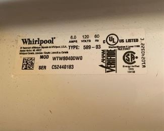 #40Whirlpool Cabrio top load washer $125.00