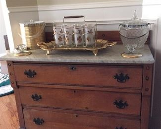 Victorian marble top chest