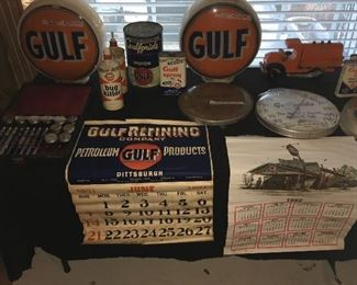 Gulf Oil pumpglobes, calendars,thermometers & more