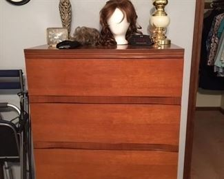 vintage chest of drawers, wigs
