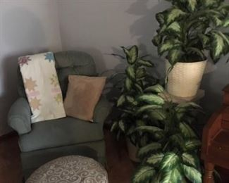 side chair, ottoman, plants