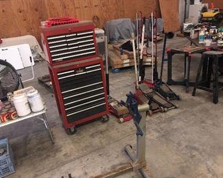 Craftsman tool box and floor jacks