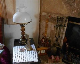 vintage lamp, small side table, collectables