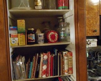 cook books, trays, kitchen items