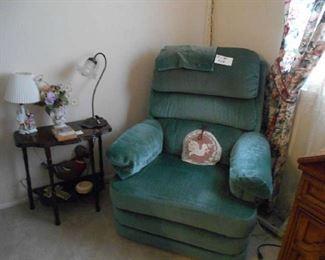 small side table, lamp, La-Z-Boy recliner/rocker