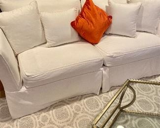 We dressed up the couch with an orange pillow for Thanksgiving.