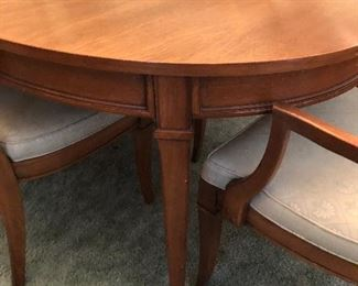 Mid Century Traditional Marshall Fields Mini Buffet, Bar Cart with flip top, 6 chairs, Dining Table, 3 extensions, Table Pads
