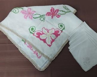 Hand Stitched Tablecloth With Lace Edge And Additional Napkins Lot #: 7
