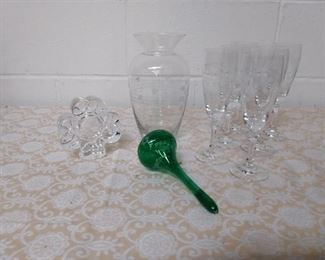 Irish Clear Crystal With Green Glass Ornament Lot #: 13
