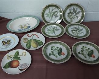 Set Of 6 Herb Plates And Etc Lot #: 42