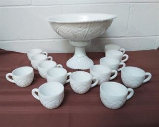 Milk Glass Punch Bowl With 13 Cups Lot #: 50