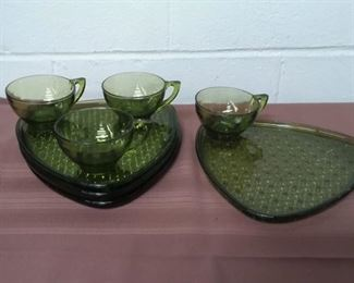 Green Glass Plate And Cup Snack Set Lot #: 53