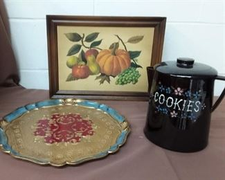 Spice Cabinet, Cookie Jar, Painted Tray Lot #: 90