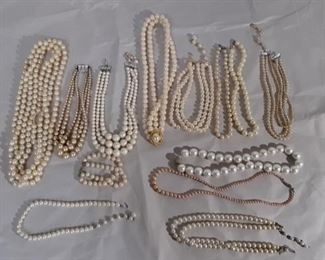 Lot Of Pearl Bead Necklaces Lot #: 99