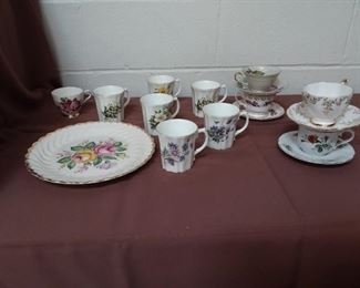 Sixteen Pieces Of Bone China Cups, Teacups And Saucers And A Plate Lot #: 120
